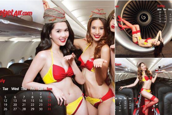azafatas - Azafatas en bikinis encienden a los pasajeros
