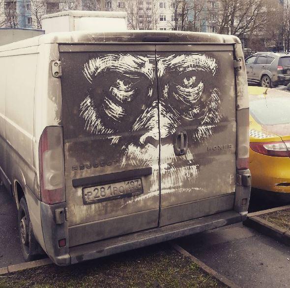 mono - Autos sucios se convierten en obras de arte