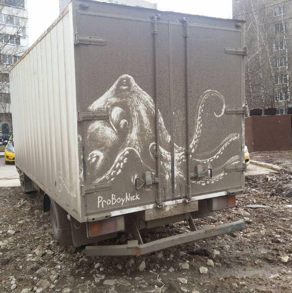 pulpo - Autos sucios se convierten en obras de arte