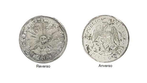 Moneda zapatista de Suriana 2 pesos 1915 plata