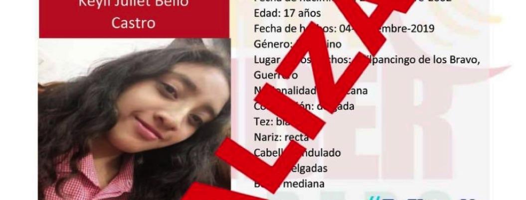 Localizan a salvo a menor desaparecida en Chilpancingo - Bajo Palabra
